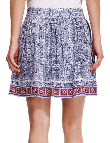 New M/&S INDIGO Blue Batik Hem Mini Skirt Sz UK 12 /& 14 rrp £27.50