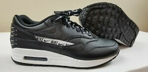 Details about Nike Womens Air Max 1 SE Overbranded Just Do It Black Leather Sz 8.5 881101 005