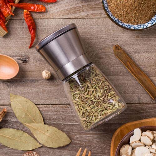 Salt and Pepper Grinder Set Stainless Steel Glass Shaker Adjustable Mill CoarSK