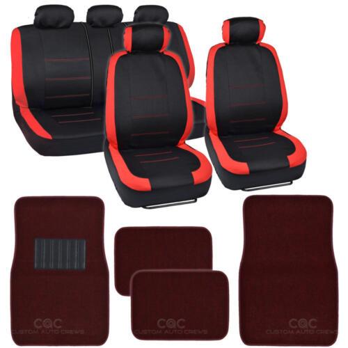 Black /& Red Car Seat Covers w// Split Bench /& Solid Burgundy Carpet Floor Mats