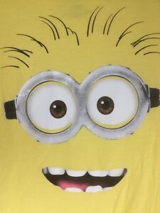 Despicable Me 2 Minion Tshirt Large Sparkly Glasses Mouth Teeth Hair