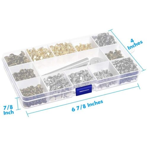 480 Sets 3 Sizes Leather Rivets Double Cap Rivet with 3 Pieces Setting Tool A5L6