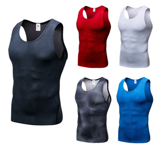 Men/'s Compression Vest Athletic Fitness Gym Tank Top Dri fit Stretchy Wicking