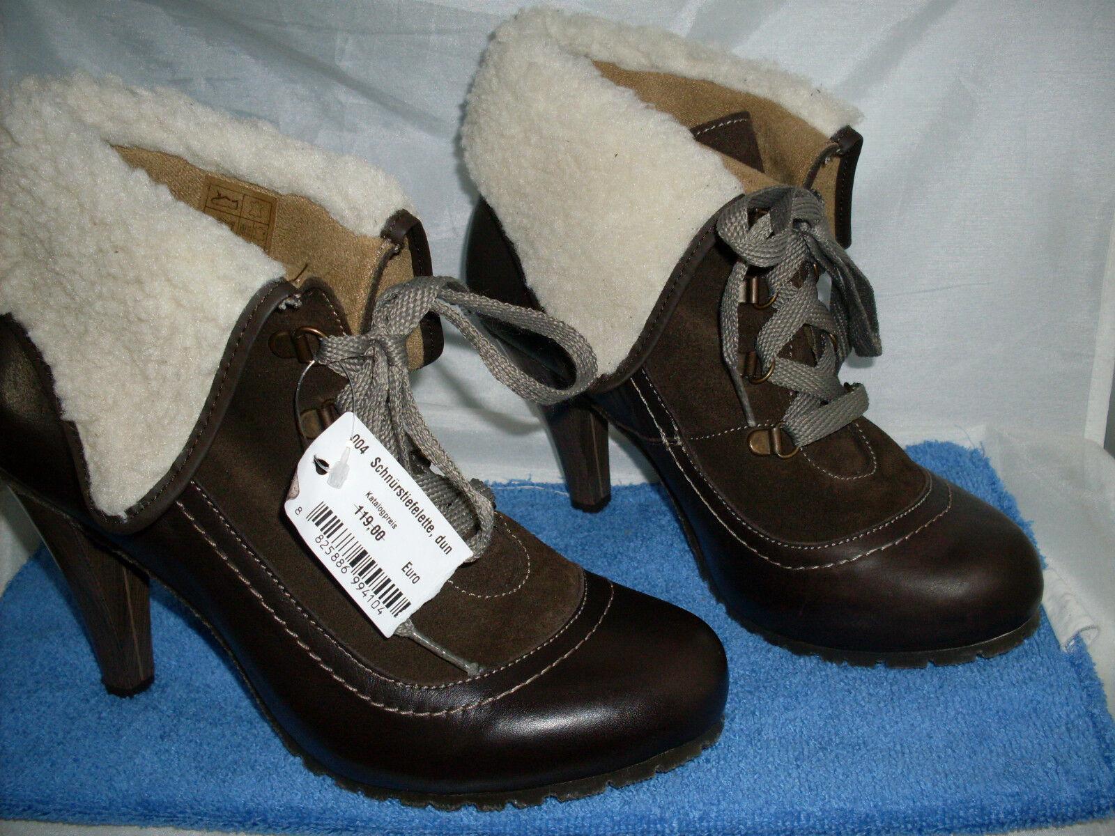 Ankleboot Designer botín nuevo en marrón & cuero necesariamente prestigio