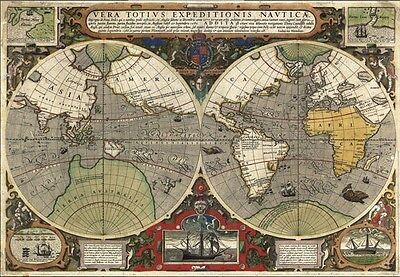 MP4 Vintage 1595 World Map Sir Francis Drake's Voyage Poster Re-Print  A1 A2 A3