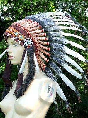 federhaube,warbonnet,42cm,32 federn,indianer,mandala,indianerschmuck,kopfschmuck