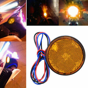 2X-Yellow-Rear-Tail-Brake-Stop-Light-Lamp-LED-Round-Reflector-For-Car-Motorcycle