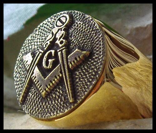 MASONIC RING SYMBOL DEGREE MASON SILVER STEEL GOLD PIN PATCH D72