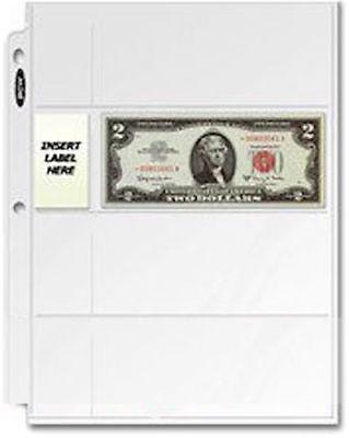 100-Pack x 4-Pocket 3-ring Binder Pages for regular-size Bills BCW PRO4C