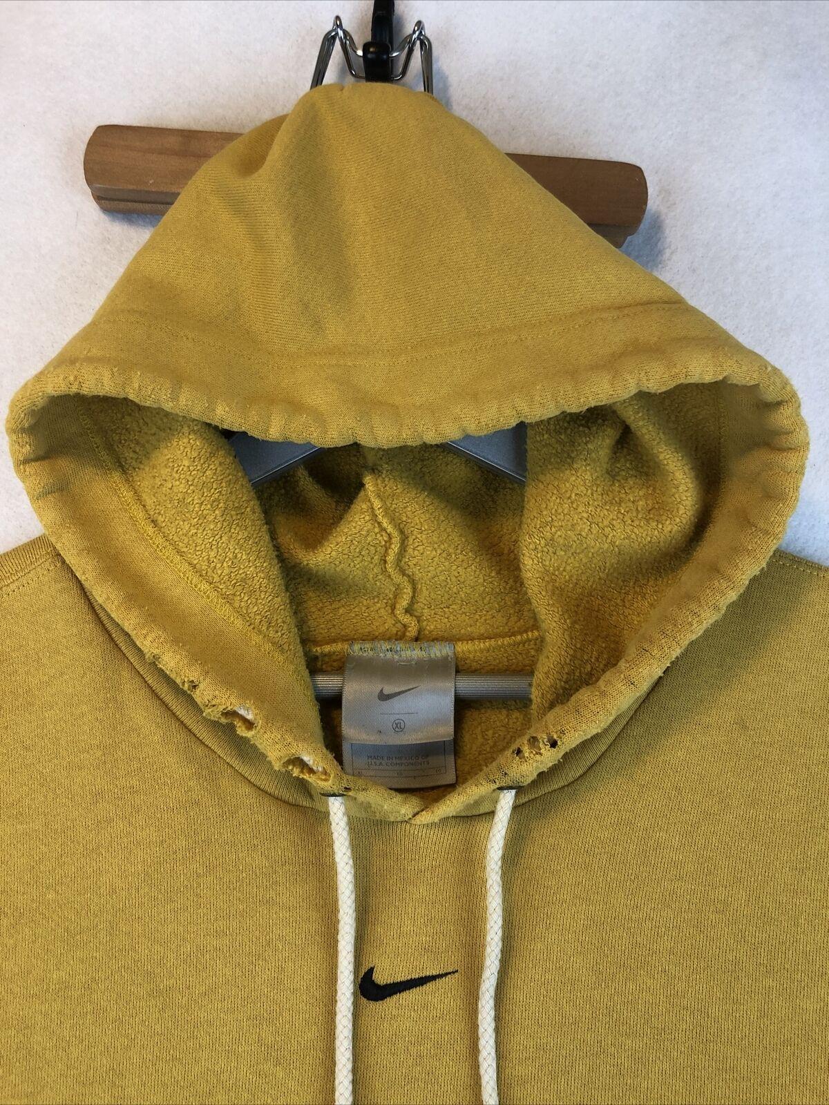 VTG Nike Rare Mustard Yellow Hoodie Sweatshirt Si… - image 3