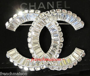 Image is loading AUTHENTIC-CHANEL-CC-Logo-Sparkling-Crystal-Silver-Classic- ec887c751f8