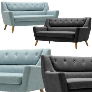 Lambeth Modern 3 Sitzer Sofa Entenei Blau Stoff Holz Beine Grau