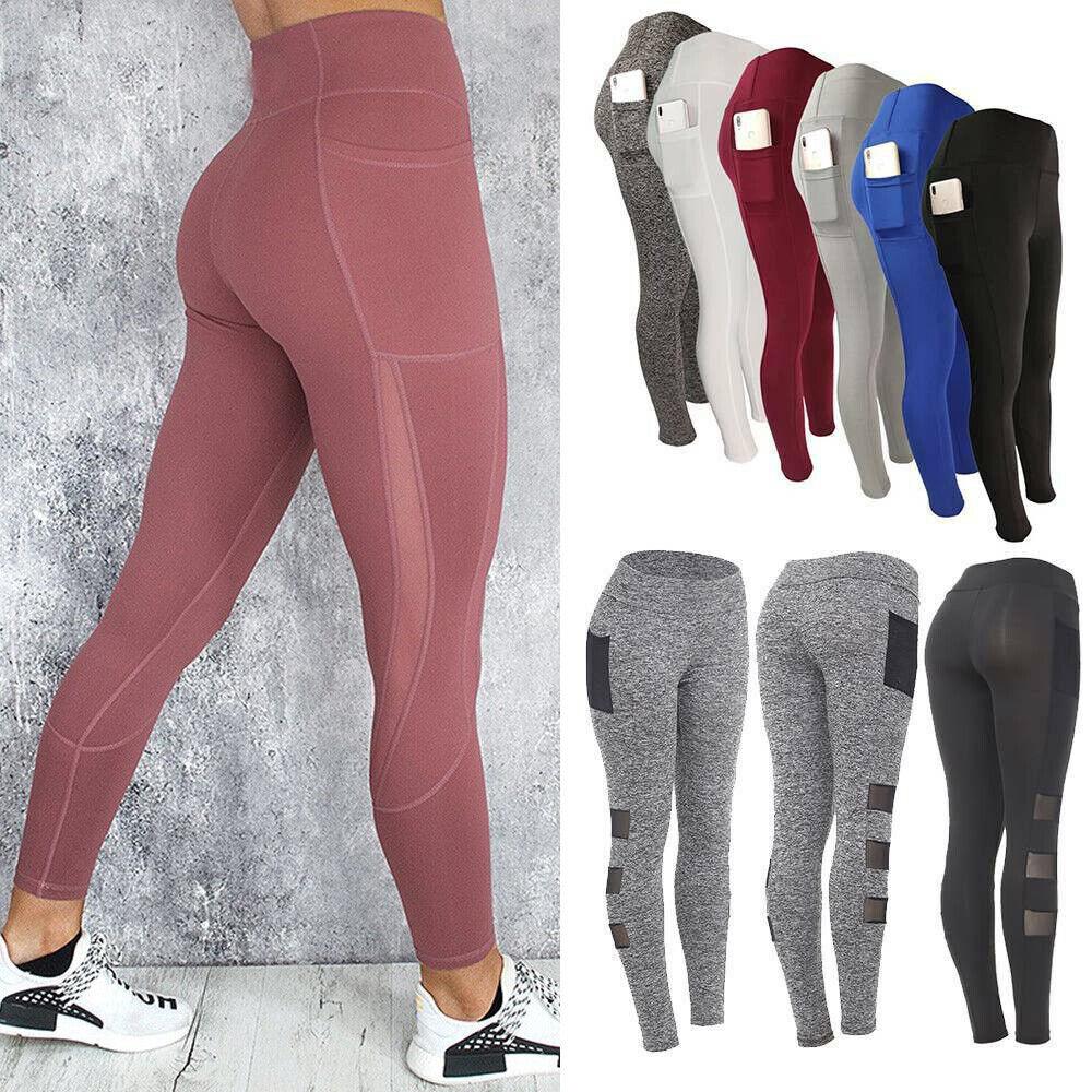 Womens High Waist Leggings Pockets Yoga Pants Push Up Sports Gym Fitness Stretch
