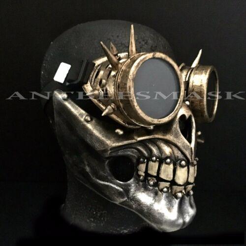 Halloween Steampunk Half Face Skull /& Goggles Vintage Burning Man Cosplay  Mask