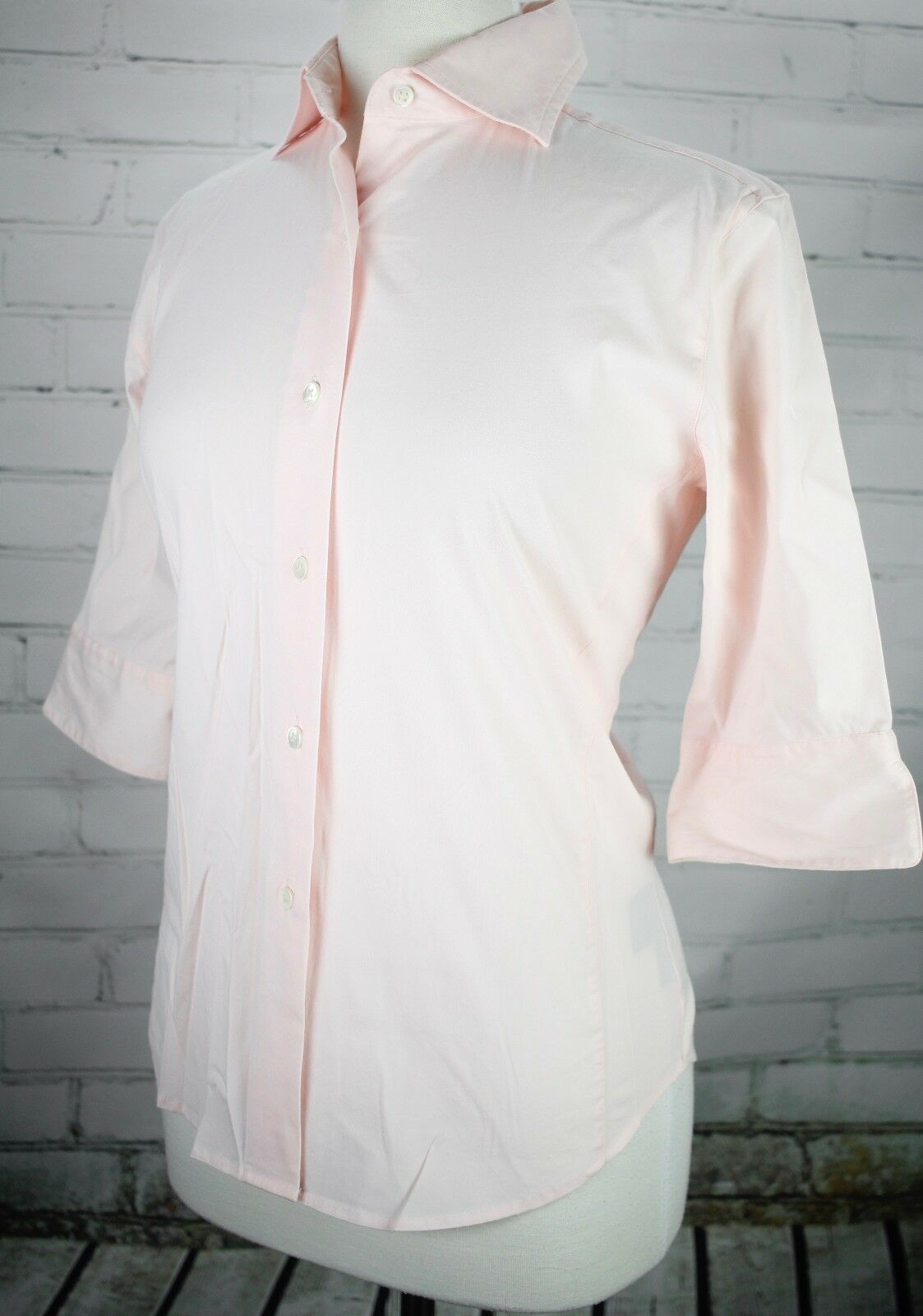 F. by Faconnable Button Down Career Shirt Pale Pink Women's S Cotton Stretch