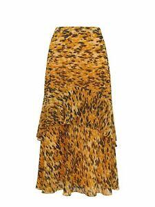 WHISTLES Ladies Yellow/Multi Midi Length Ikat Animal Midi Skirt RRP139 UK6 NEW