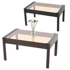 poly rattan beistelltisch kaffeetisch gartentisch tisch sanremo mit glasplatte ebay. Black Bedroom Furniture Sets. Home Design Ideas