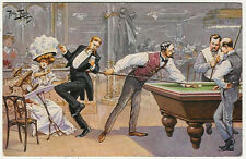 Arthur Thiele, Pool, Biliard, Billiard Game in a Saloon, Comic Old Postcard