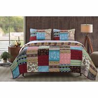 Beautiful Reversible Patchwork Red Blue Brown Teal Grey Cabin Global Quilt Set