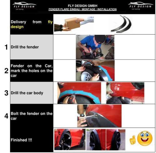 Body felgen 2x Radlauf Verbreiterung Leisten Fender für Peugeot 205 I Cabriolet