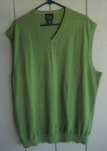 Details about Mens 2XT Jos. A. Bank 100% Italian Merino Wool Lime Green Vest Sweater Chest 54