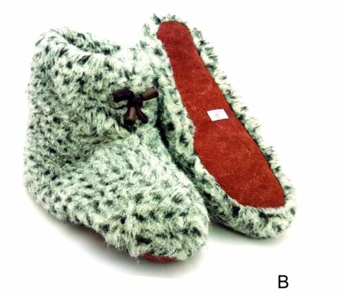 Leather Sheep Wool Women Ladies Indoor Shoes Slippers Warm Boots Home UK 5 6 6.5
