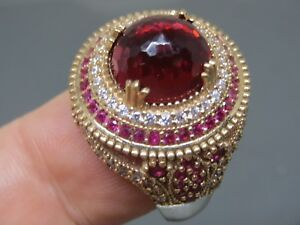 Turkish-Handmade-Jewelry-925-Sterling-Silver-Ruby-Stone-Women-Ring-Sz-8