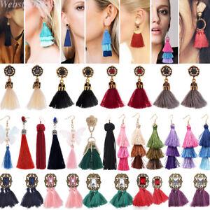 1Par-Moda-Mujer-Cristal-Borla-Largos-Pendientes-Aretes-Party-Joyeria-Pendiente