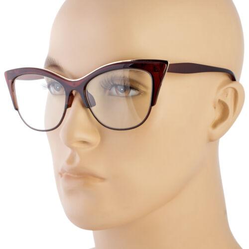 Large Cat Eye Clear Lens Glasses Metal rims 50s Vintage Women Retro Eyeglasses b