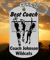 Girls Volleyball Coach Keychain Gift, Personalized With Their Name & Team