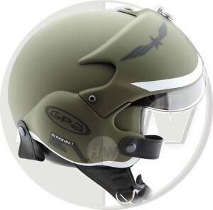 OPEN FACE MOTORCYCLE HELMET OSBE GPA AIRCRAFT TORNADO GREEN ARMY L 59-60 cm
