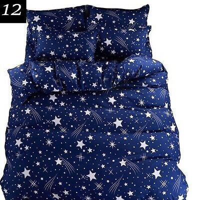 Moon and Stars Dark Blue Print 4 Piece Duvet Queen Set