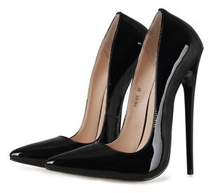 f53ef56fd0c4 Image is loading Super-High-Heel-16cm-Womens-Stiletto-Patent-Leather-