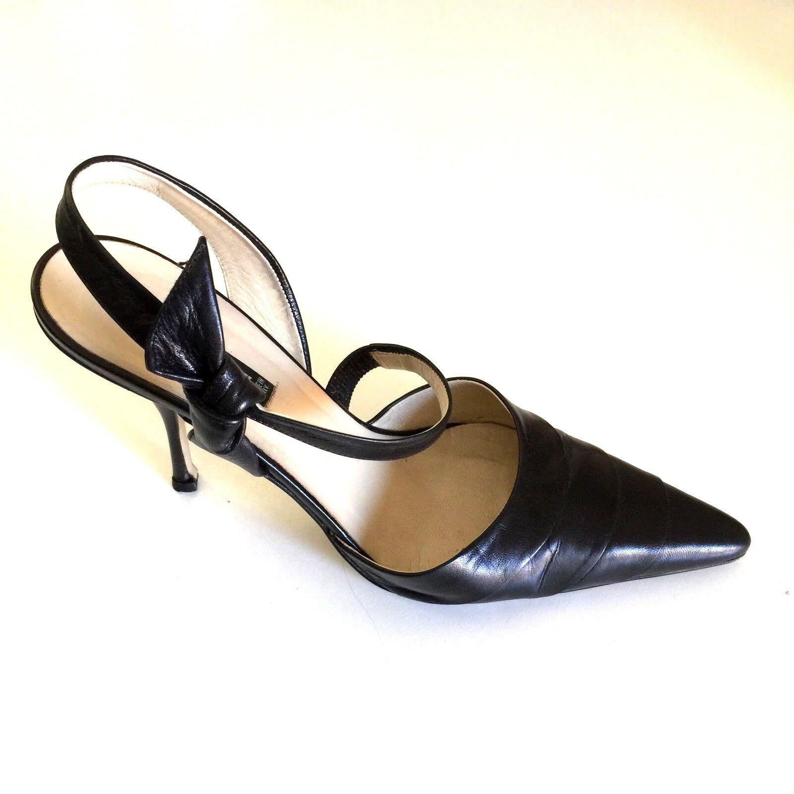 Claudia Ciuti Pumps Black Leather Slingback Bow 8 M Pointed Toe Slim Heel