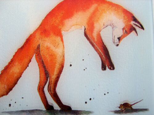 Unique Glass Chopping Board with a vibrant FOX design by artist Maria Moss