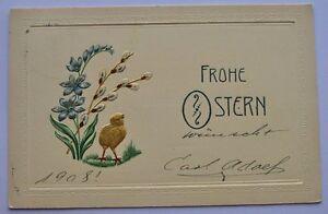 1908 Germany Dusseldorf Beautiful Embossed Easter Postcard Copenhagen Denmark