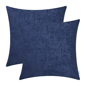 details about 2pcs navy blue solid dyed soft chenille cushion covers shells sofa decor 55x55cm