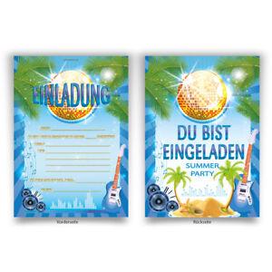 Einladungskarten-8-Stueck-zum-Ausfuellen-fuer-Geburtstag-Gitarre-Sommer-Party