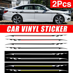 2x-Car-Racing-Body-Side-Sticker-Graphics-Strip-Pinstripe-Vinyl-Decals-Universal