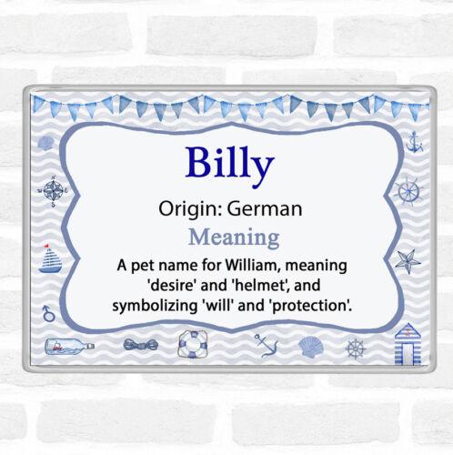 Billy Name Meaning Jumbo Fridge Magnet Nautical