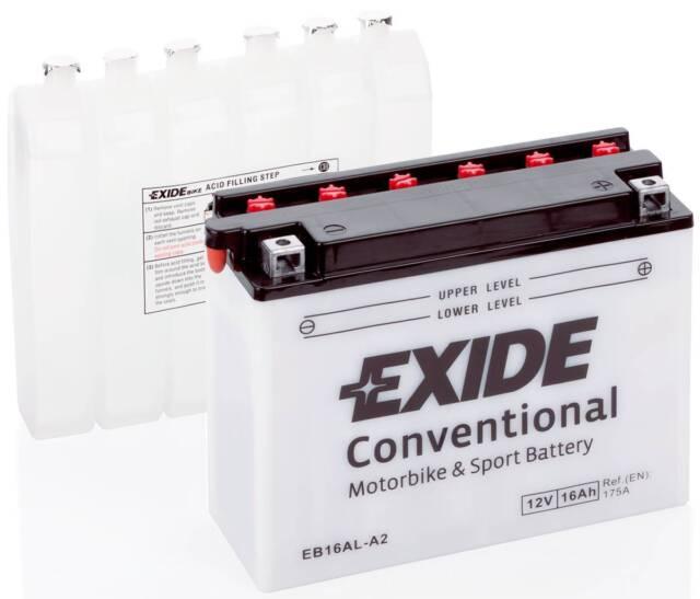 Batterie moto Exide YB16AL-A2 EB16AL-A2 12V 16AH 220A 207X71X164MM ACIDE OFFERT