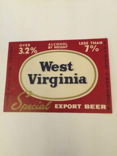 West Virginia Special Export Beer Label Vintage Fesenmeier Brewing Co