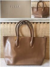 Small Furla Tote Handbag Camel Brown Shopper  Satchel Neutral From Italy Classic
