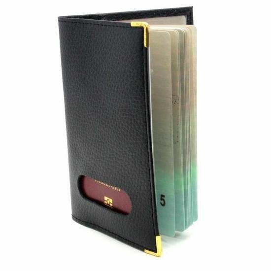 Etui pochette protège passeport couleur Noir en Cuir véritable Homme Femme