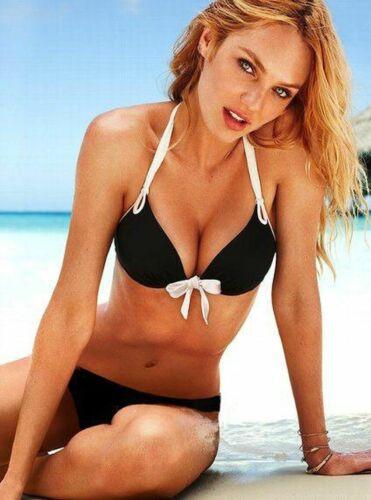 Victoria/'s Secret Bikini Add-2-Cups Mega Push-Up Bomb Shell Black/&White S M New