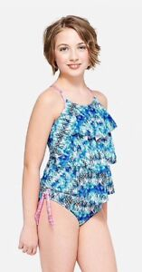c5e3db61cf Image is loading NWT-Justice-Girls-Abstract-Tiered-Tankini-Swimsuit-Choose-