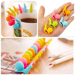 5Stk-Schnecken-Form-Silikon-Teebeutel-Halter-Candy-Farben-Becher-Geschenk-E8F1