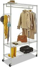Wire Shelving Garment Stand Alone Silver Rack W Caster Amp Hanging Rod For Garment
