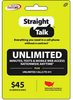 Straight Talk $45 Unlimited 30 Days Refill Card