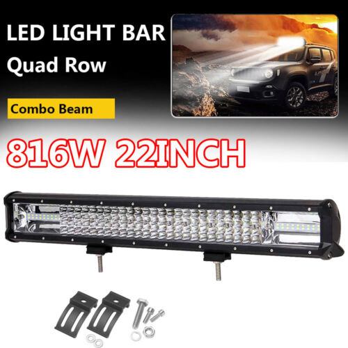 "22/""INCH 816W Quad Row LED Work Light Bar Combo Spot Flood Off Road Truck 4WD SUV"